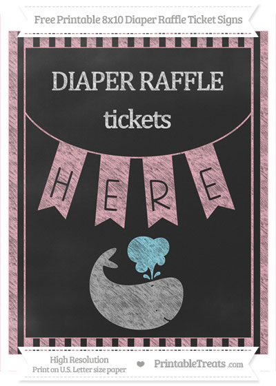 Free Pastel Light Pink Striped Chalk Style Whale 8x10 Diaper Raffle Ticket Sign