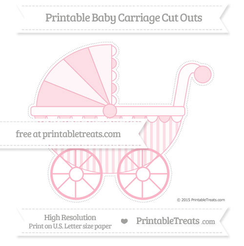 Free Pastel Light Pink Striped Extra Large Baby Carriage Cut Outs