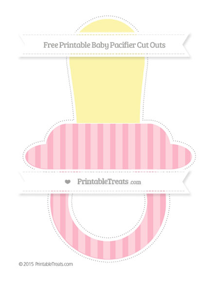 Free Pastel Light Pink Striped Extra Large Baby Pacifier Cut Outs
