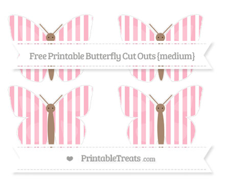 Free Pastel Light Pink Striped Medium Butterfly Cut Outs