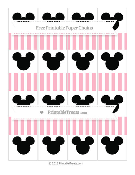 Free Pastel Light Pink Striped Mickey Mouse Paper Chains