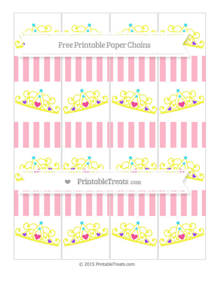 Free Pastel Light Pink Striped Princess Tiara Paper Chains