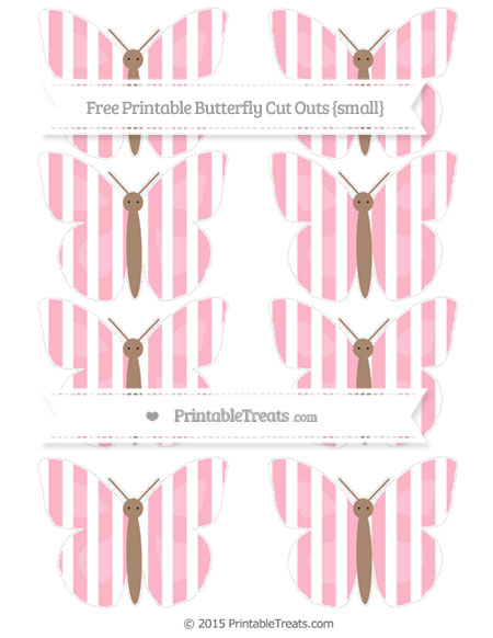 Free Pastel Light Pink Striped Small Butterfly Cut Outs