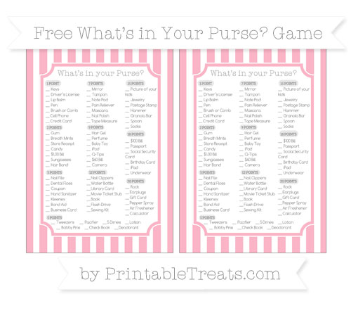 Free Pastel Light Pink Striped What's in Your Purse Baby Shower Game