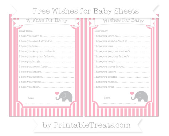 Free Pastel Light Pink Thin Striped Pattern Baby Elephant Wishes for Baby Sheets
