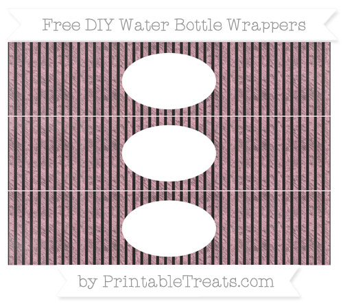 Free Pastel Light Pink Thin Striped Pattern Chalk Style DIY Water Bottle Wrappers