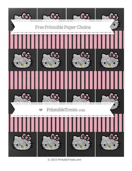 Free Pastel Light Pink Thin Striped Pattern Chalk Style Hello Kitty Paper Chains