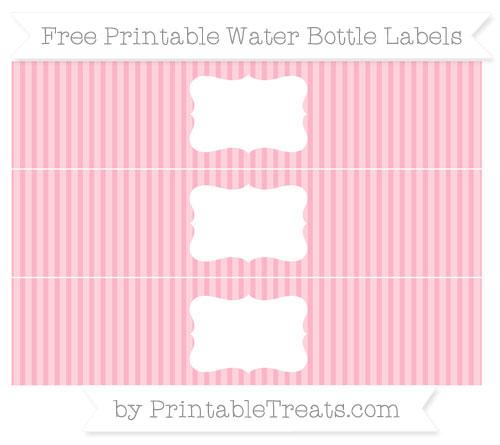 Free Pastel Light Pink Thin Striped Pattern Water Bottle Labels