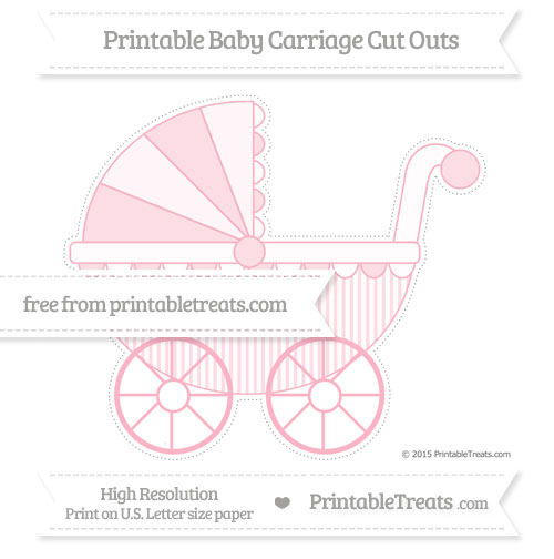 Free Pastel Light Pink Thin Striped Pattern Extra Large Baby Carriage Cut Outs