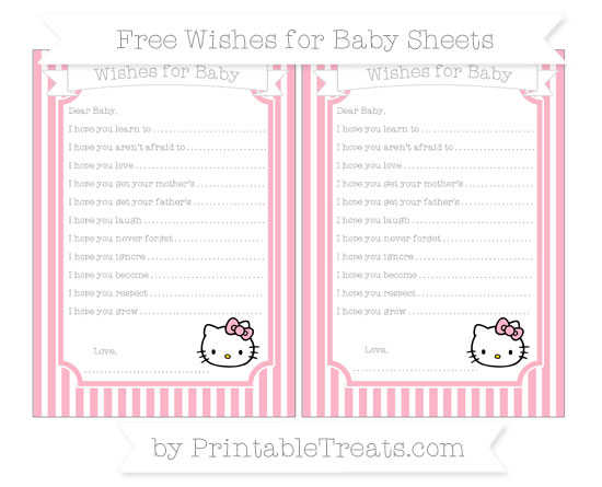 Free Pastel Light Pink Thin Striped Pattern Hello Kitty Wishes for Baby Sheets