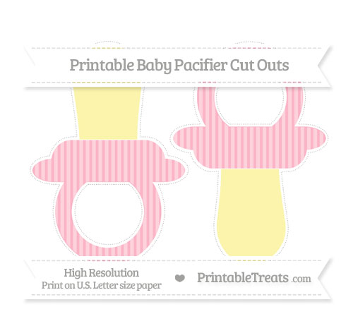 Free Pastel Light Pink Thin Striped Pattern Large Baby Pacifier Cut Outs