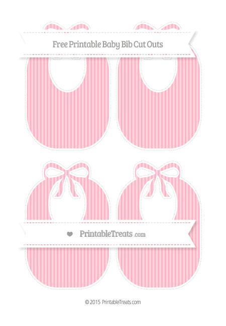 Free Pastel Light Pink Thin Striped Pattern Medium Baby Bib Cut Outs
