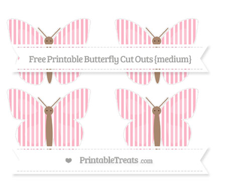 Free Pastel Light Pink Thin Striped Pattern Medium Butterfly Cut Outs