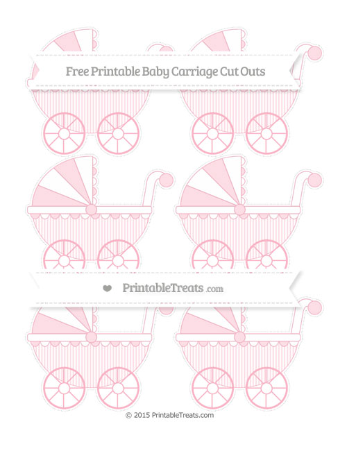 Free Pastel Light Pink Thin Striped Pattern Small Baby Carriage Cut Outs