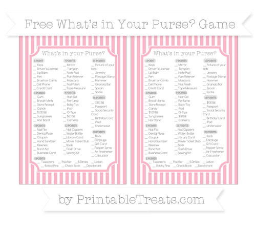 Free Pastel Light Pink Thin Striped Pattern What's in Your Purse Baby Shower Game