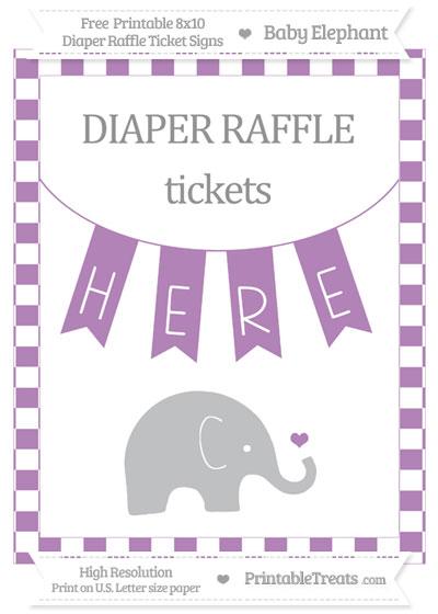 Free Pastel Light Plum Checker Pattern Baby Elephant 8x10 Diaper Raffle Ticket Sign