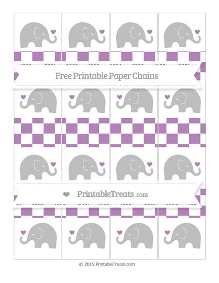 Free Pastel Light Plum Checker Pattern Baby Elephant Paper Chains