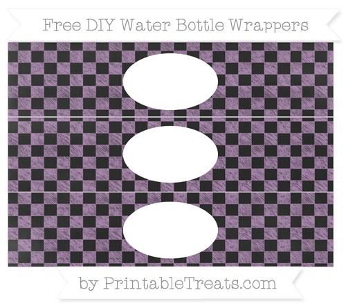 Free Pastel Light Plum Checker Pattern Chalk Style DIY Water Bottle Wrappers