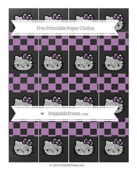 Free Pastel Light Plum Checker Pattern Chalk Style Hello Kitty Paper Chains