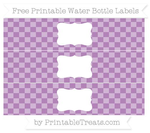 Free Pastel Light Plum Checker Pattern Water Bottle Labels