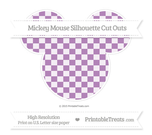 Free Pastel Light Plum Checker Pattern Extra Large Mickey Mouse Silhouette Cut Outs