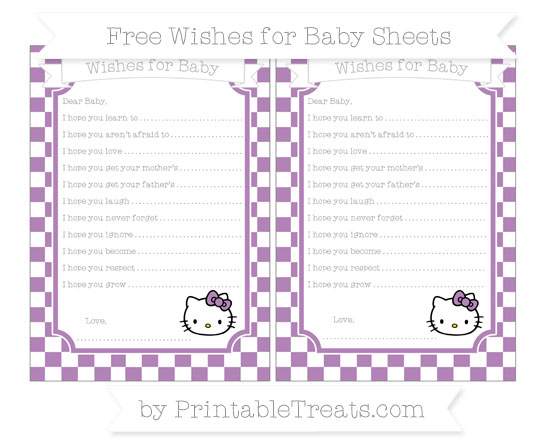 Free Pastel Light Plum Checker Pattern Hello Kitty Wishes for Baby Sheets