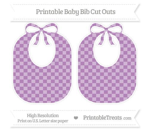 Free Pastel Light Plum Checker Pattern Large Baby Bib Cut Outs