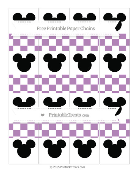 Free Pastel Light Plum Checker Pattern Mickey Mouse Paper Chains