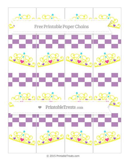 Free Pastel Light Plum Checker Pattern Princess Tiara Paper Chains