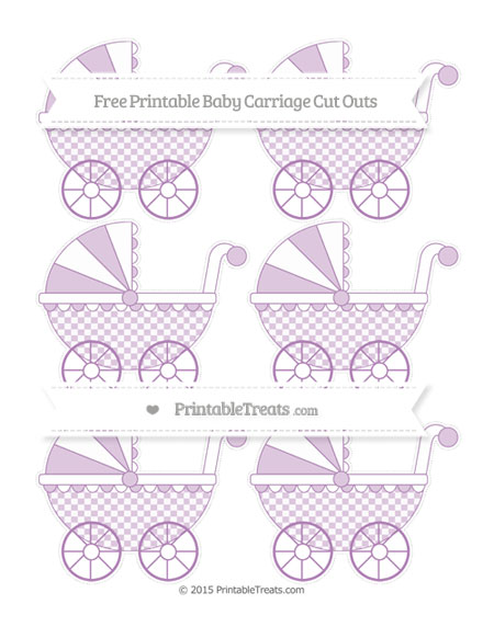 Free Pastel Light Plum Checker Pattern Small Baby Carriage Cut Outs
