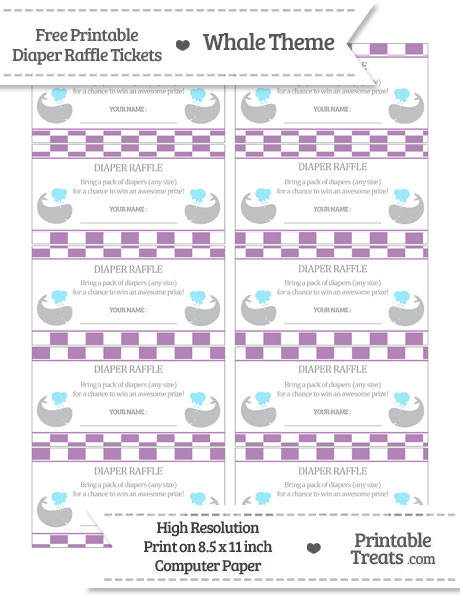 Free Pastel Light Plum Checker Pattern Whale Diaper Raffle Tickets
