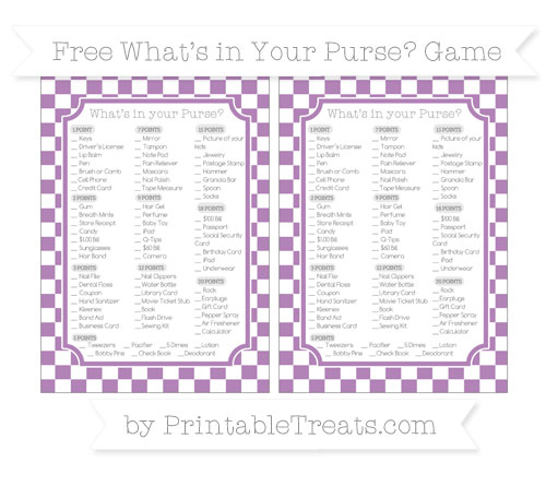 Free Pastel Light Plum Checker Pattern What's in Your Purse Baby Shower Game