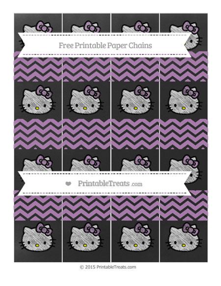 Free Pastel Light Plum Chevron Chalk Style Hello Kitty Paper Chains