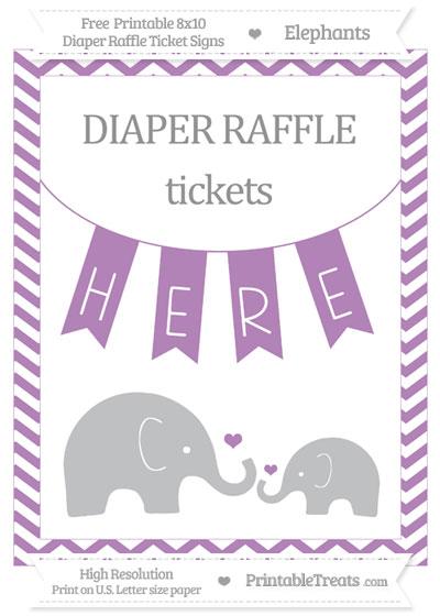 Free Pastel Light Plum Chevron Elephant 8x10 Diaper Raffle Ticket Sign