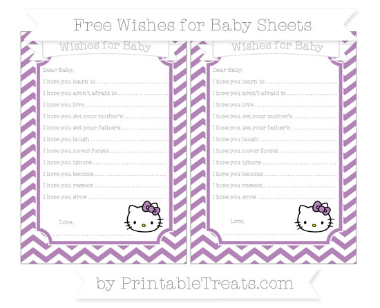 Free Pastel Light Plum Chevron Hello Kitty Wishes for Baby Sheets