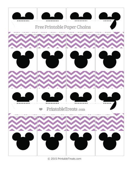 Free Pastel Light Plum Chevron Mickey Mouse Paper Chains