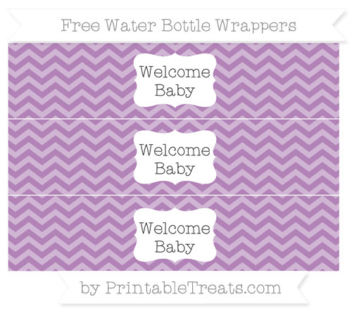 Free Pastel Light Plum Chevron Welcome Baby Water Bottle Wrappers