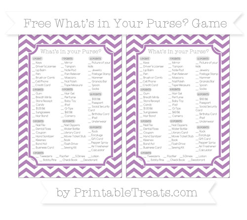 Free Pastel Light Plum Chevron What's in Your Purse Baby Shower Game
