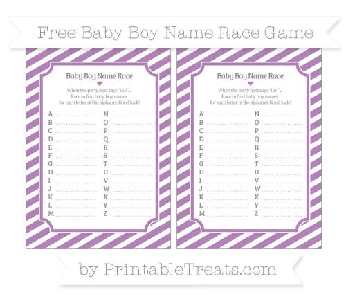 Free Pastel Light Plum Diagonal Striped Baby Boy Name Race Game