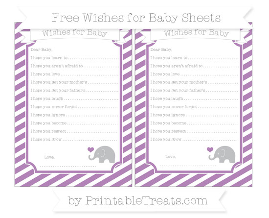 Free Pastel Light Plum Diagonal Striped Baby Elephant Wishes for Baby Sheets