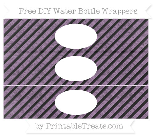 Free Pastel Light Plum Diagonal Striped Chalk Style DIY Water Bottle Wrappers