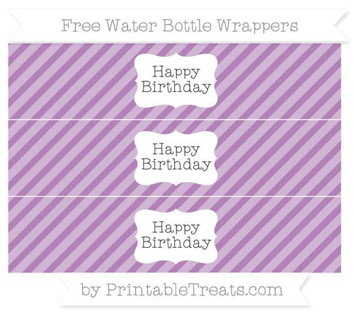 Free Pastel Light Plum Diagonal Striped Happy Birhtday Water Bottle Wrappers