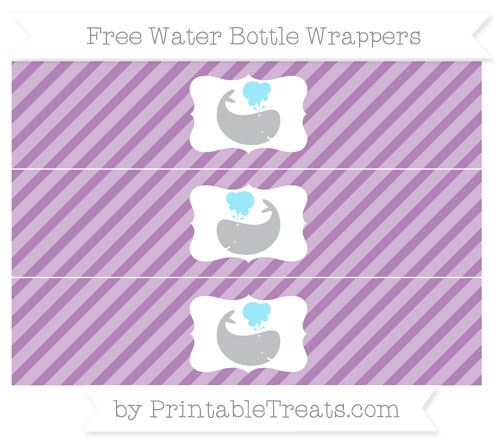 Free Pastel Light Plum Diagonal Striped Whale Water Bottle Wrappers