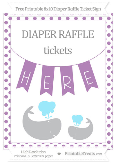 Free Pastel Light Plum Dotted Baby Whale 8x10 Diaper Raffle Ticket Sign
