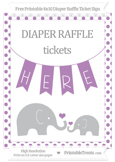 Free Pastel Light Plum Dotted Elephant 8x10 Diaper Raffle Ticket Sign