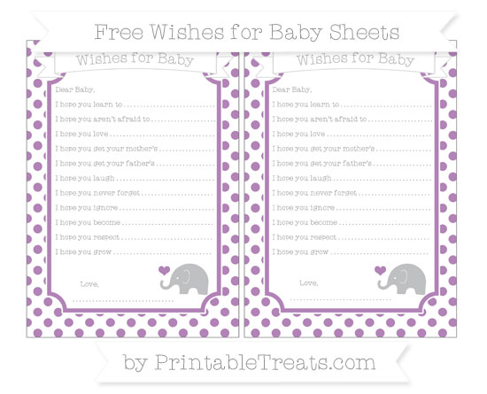 Free Pastel Light Plum Dotted Pattern Baby Elephant Wishes for Baby Sheets