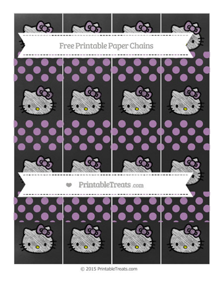 Free Pastel Light Plum Dotted Pattern Chalk Style Hello Kitty Paper Chains