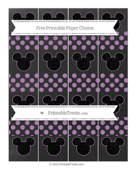 Free Pastel Light Plum Dotted Pattern Chalk Style Mickey Mouse Paper Chains