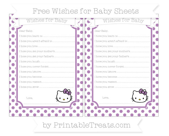 Free Pastel Light Plum Dotted Pattern Hello Kitty Wishes for Baby Sheets