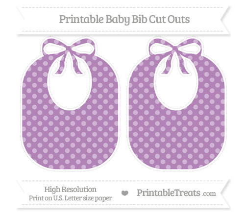 Free Pastel Light Plum Dotted Pattern Large Baby Bib Cut Outs